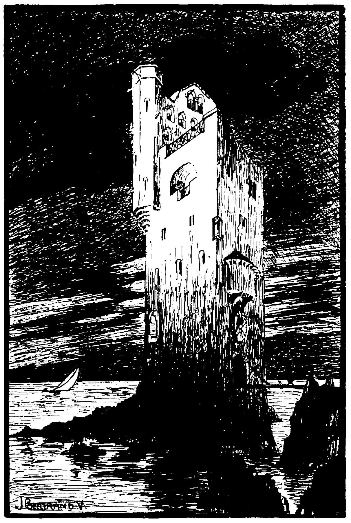 """Torre-Bertrand 2 – """"La torre de Los Diez"""", dibujo de Julio Bertrand, publicado en la""""Revista de Los Diez Número I"""""""