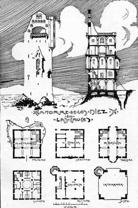 Dibujo Bertrand, Torre-Bertrand – Archivo Biblioteca Nacional de Chile